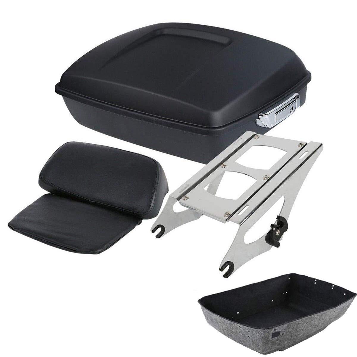 TCMT Matte Black 10.7' Tour Pack Trunk Backrest +Rack Fits For Harley Touring 2014-2020 (Style H-Chrome luggage rack)