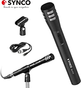 Dynamic Instrument Microphone, SYNCO E10 Vocal Cardioid Mic, Dual Power Supply with XLRM Connector & Mount for Audio Mixer, Recorder, Camcorder, Camera, Handheld for Interviews, Reports, Music