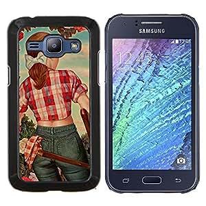 - girl blue sky cartoon redhead - - Modelo de la piel protectora de la cubierta del caso FOR Samsung Galaxy J1 J100 J100H RetroCandy
