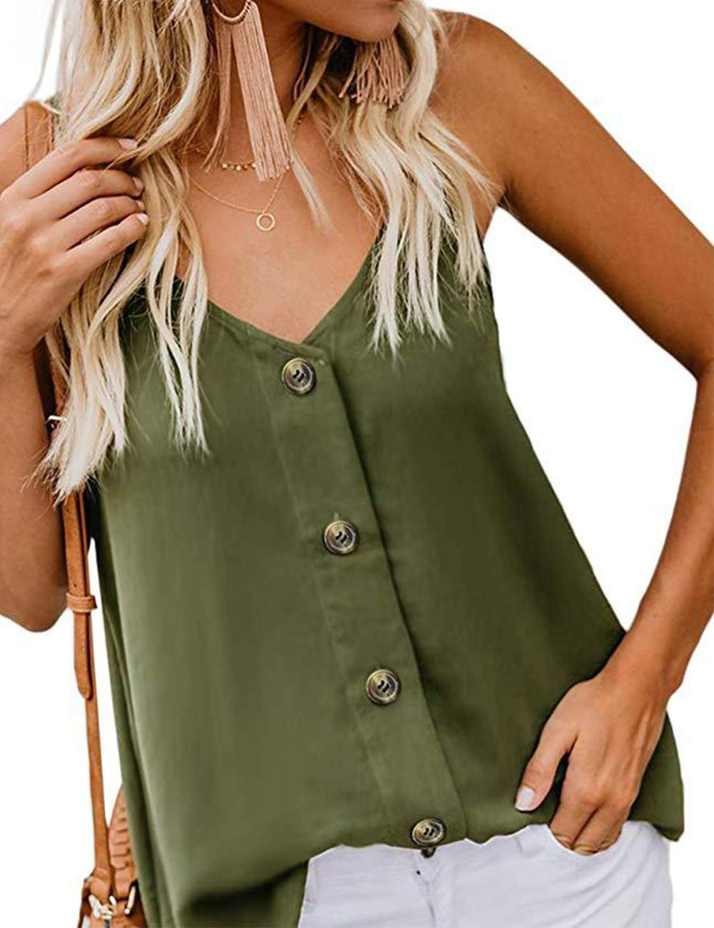 RSM &CHENG Women's Button Down V Neck Strappy Tank Tops Loose Casual Sleeveless Shirts Blouses(Arm Green,M