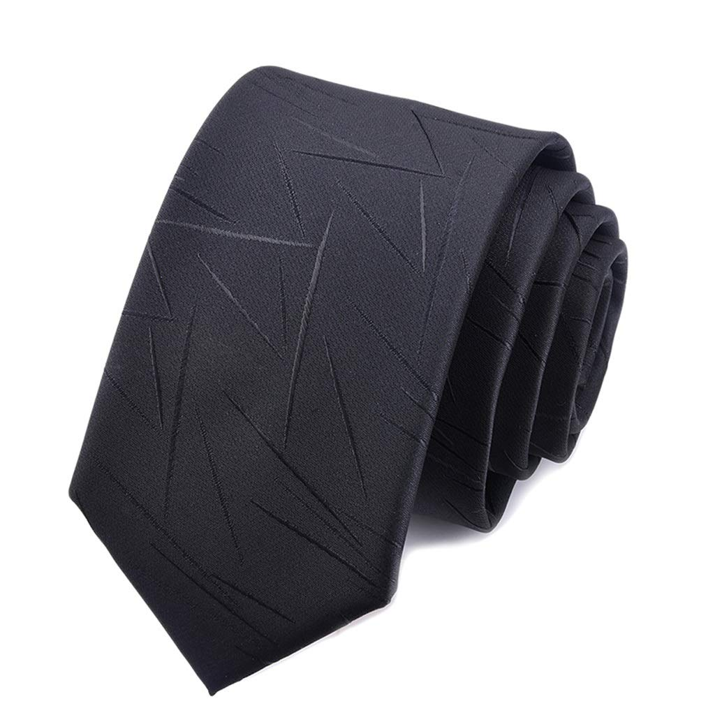 Color : Black NIEHFIT Mens Fashion Tie Irregular Pattern Business Dress Solid Color Fine Wedding Gift Box Necktie Polyester Neckwear Formal Dress
