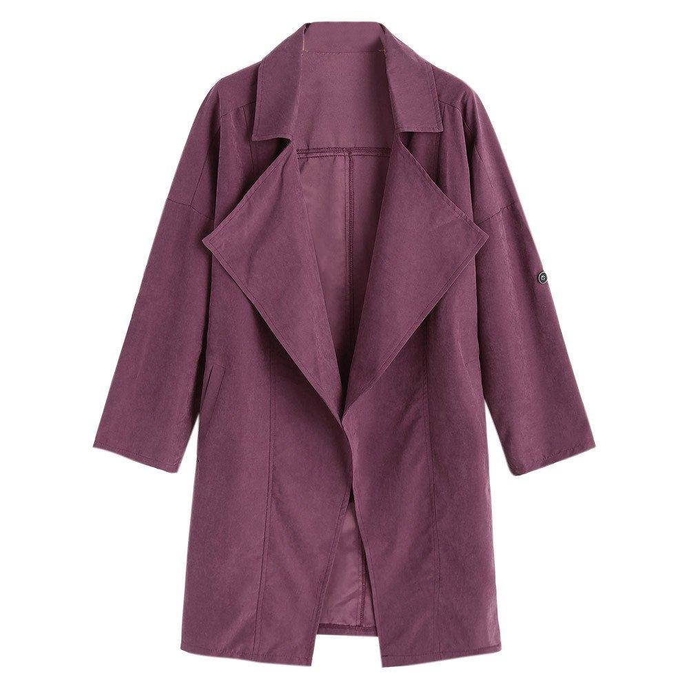 Kemilove 2018 New Women Loose Long Sleeve Solid Coat Tops Jacket Windbreaker Parka Outwear