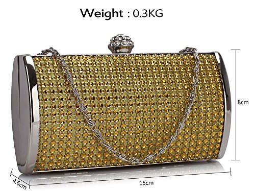 Chain Women Design Clutch Designer Handbag Box Gold Diamante New Bag Sparkly Luxury Evening Hard Case Look With 1 Hardcase Ladies awwqzTfx