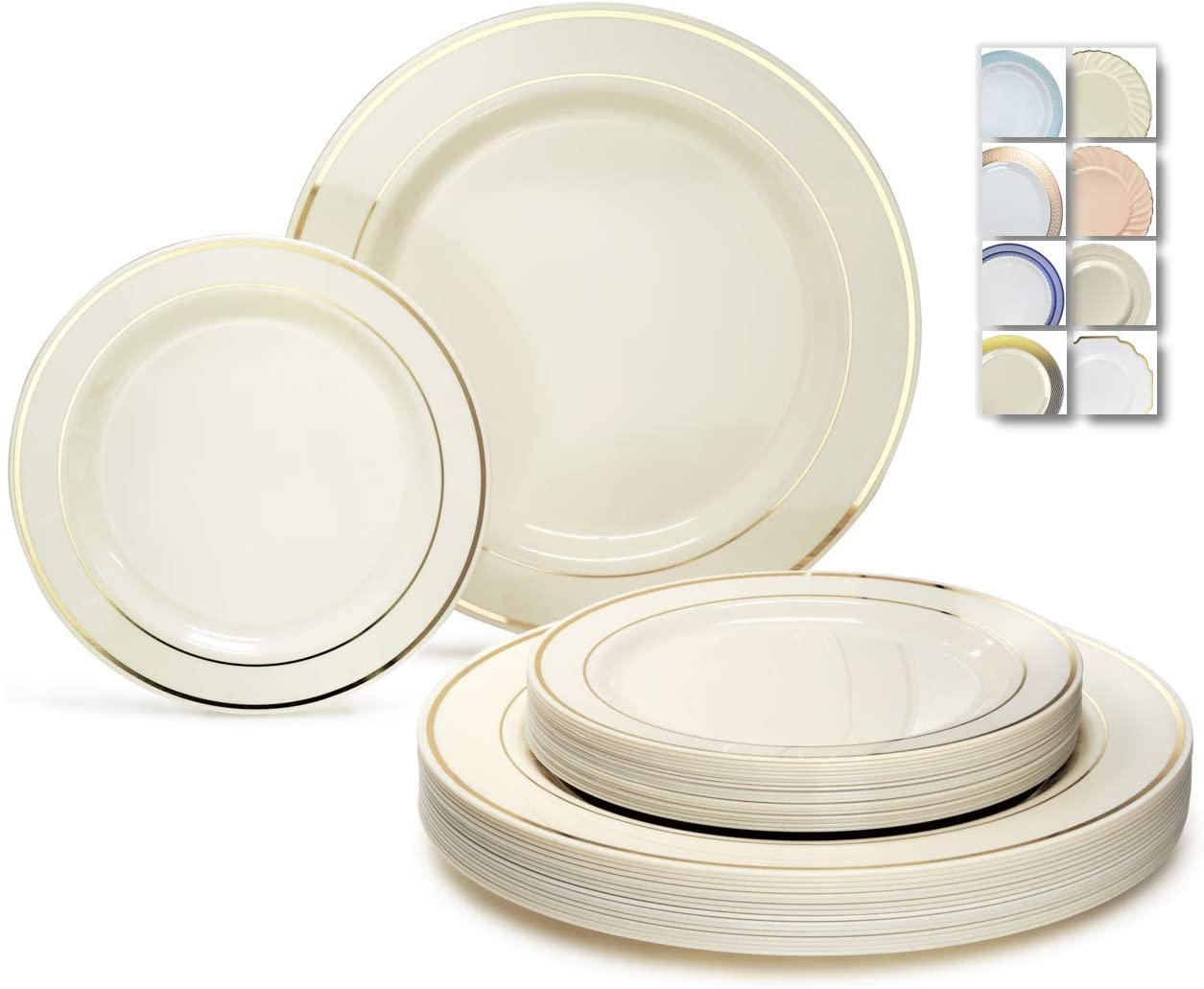 OCCASIONS 240 Plates Pack,(120 Guests) Heavyweight Wedding Party Disposable Plastic Plates Set -120 x 10.5'' Dinner + 120 x 7.5'' Salad/Dessert (Ivory w/Gold Rim) 61kdebqL8hL