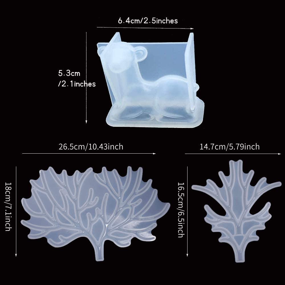 YWNYT Deer Horn Molds Epoxy Resin molds Jewelry Casting Molds for DIY Crafts Set of 3 Silicone ELk Mold
