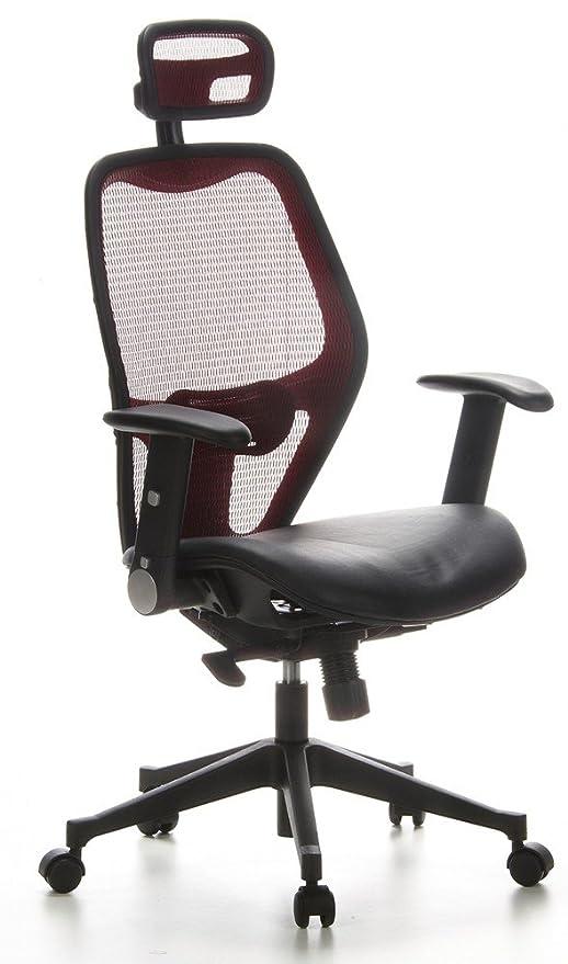 hjh OFFICE 653030 silla de oficina AIR-PORT tejido de malla rojo / piel negro, apoyabrazos plegables, soporte lumbar, apoyacabezas, inclinable, sillón ...