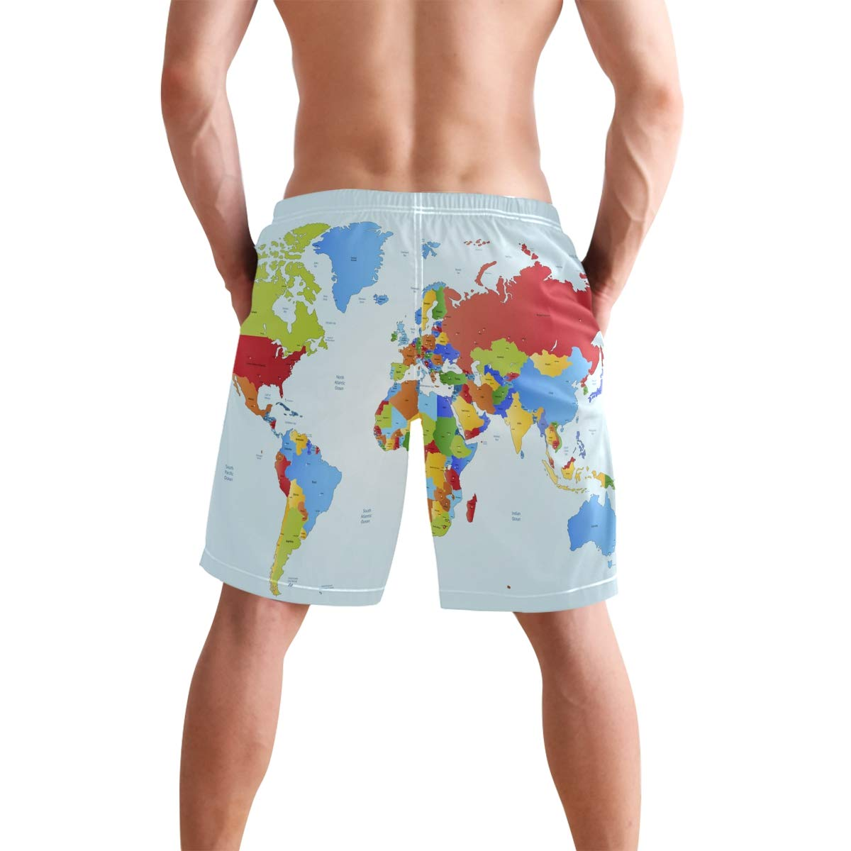 JERECY Mens Swim Trunks Educational World Map Quick Dry Board Shorts with Drawstring and Pockets