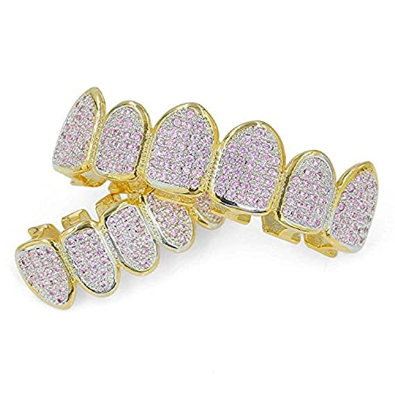 FasterS 18k Gold Plated All Iced Out Pink Rhinestone Gold Grillz set for  Women with EXTRA Molding Bars  Amazon.co.uk  Clothing f2816df85f