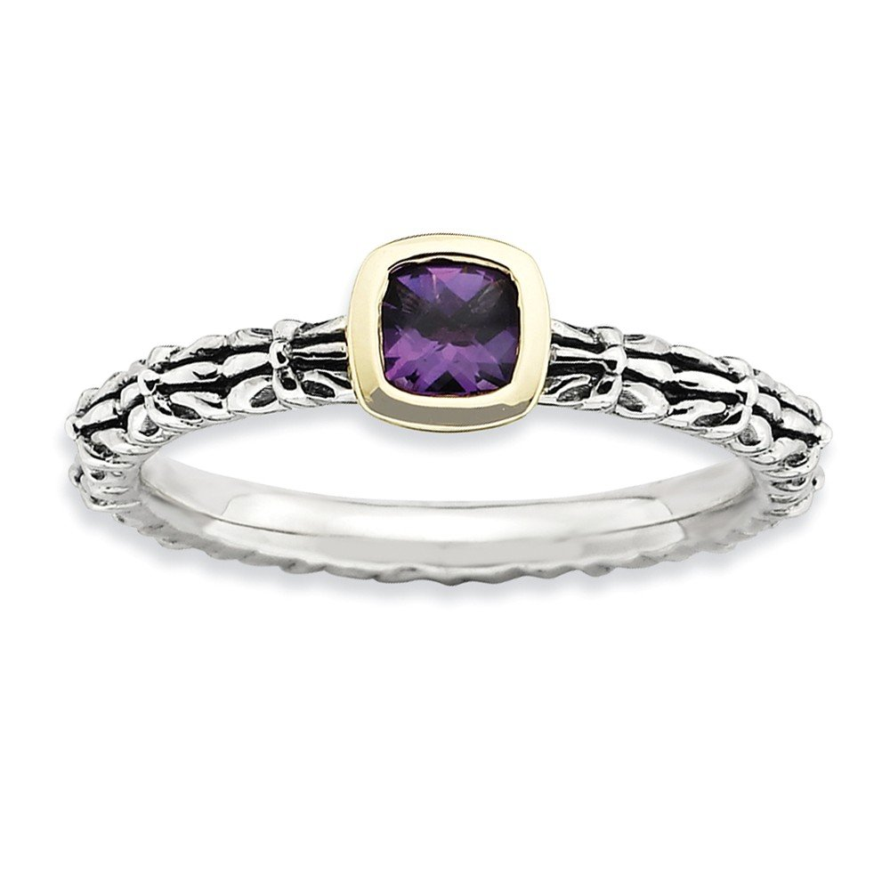 Top 10 Jewelry Gift Sterling Silver&14k Stackable Expressions Checker-cut Amethyst Ring