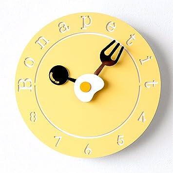 LOSTRYY Los Relojes de pared digital redonda simple tortilla moderno blanco de mesa colgantes reloj salón dormitorio nórdico, amarillo: Amazon.es: Hogar