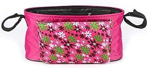 XIAOJUANJUAN Stroller Organizer Pram Bag Organiser Multifunctional Baby Pram Buggy Storage Bag Storage Space for Toys Food (Color : Pink, Size : 33x16x16cm)