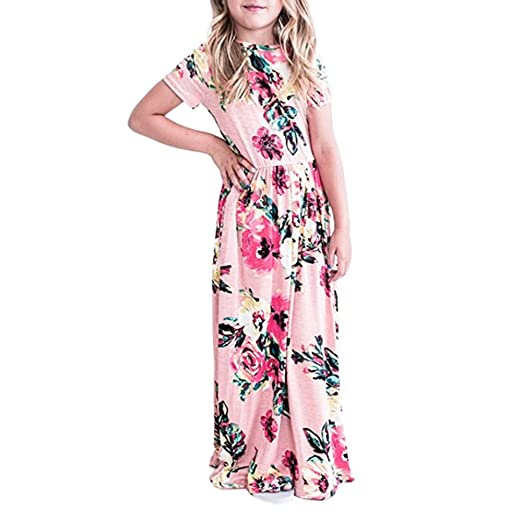 4227a6c463508 Amazon.com: 2-10Y Kids Girl's Floral Print Dress, Children Summer ...