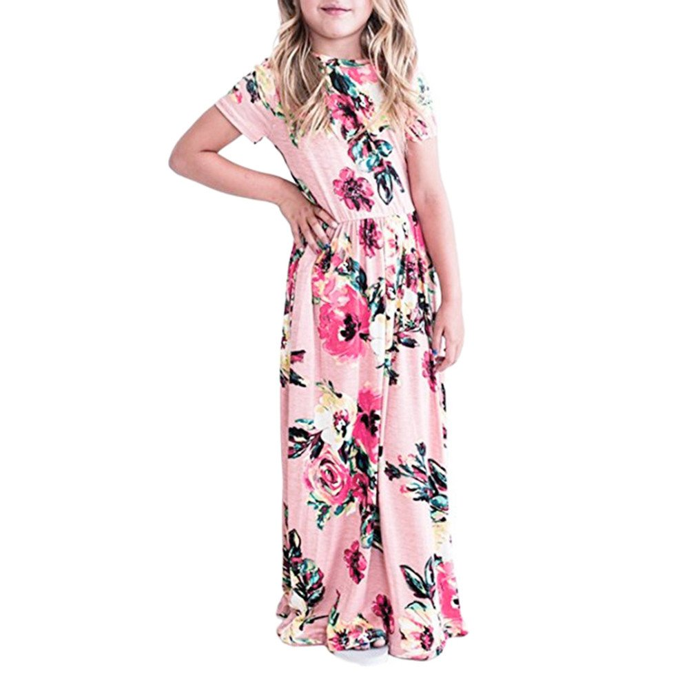 2-10Y Kids Girl's Floral Print Dress, Children Summer Spring Casual Long Maxi Dress Short Sleeve Dresses with Pocket (Pink, 2T/24M (1-2 Years))
