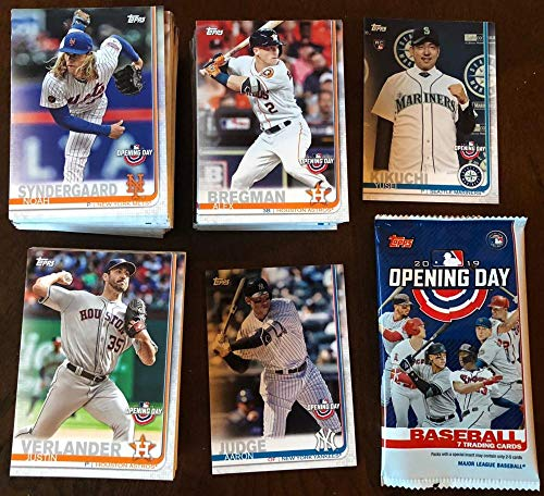 - 2019 Topps Opening Day Complete Hand Collated Baseball Set of 200 Cards with a FREE HOBBY WRAPPER. PURCHASE THIS SET AND RECEIVE FREE STANDARD SHIPPING WITHIN THE UNITED STATES ON YOUR ENTIRE PURCHASE FROM THIS AMAZON STORE. This amazing set has all the top stars of baseball including Mike Trout Aaron Judge Shohei Ohtani Ronald Acuna Bryce Harper Jose Altuve as well as Rookie Card of Japanese superstar Yusei Kikuchi (his first regular released MLB card) and Kyle Tucker RC and many more