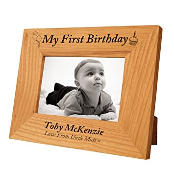 Personalised 1st Birthday Oak Frame For Baby Boy Special Gift Idea Amazoncouk Kitchen