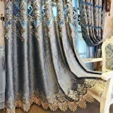 ZZCZZC 2 Pack – European Luxury Blue Jacquard Curtains for Villa Parlor Elegant Hollowed Chenille Room Darkening Draperies Macrame Bottom Grommet Top Bay Window Panels W52 x L102 inch Total W104 inch Review
