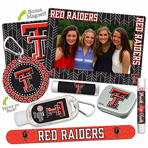 Texas Tech Red Raiders Deluxe Variety Set with Nail File, Mint Tin, Mini Mirror, Magnet Frame, Lip Shimmer, Lip Balm, Sanitizer. NCAA Gifts and Gear for Women, Mother's Day