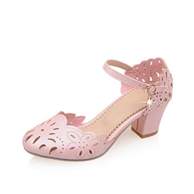 14de229c52e740 WeenFashion Women s Solid Soft Material Kitten-Heels Buckle Round Closed Toe  Sandals
