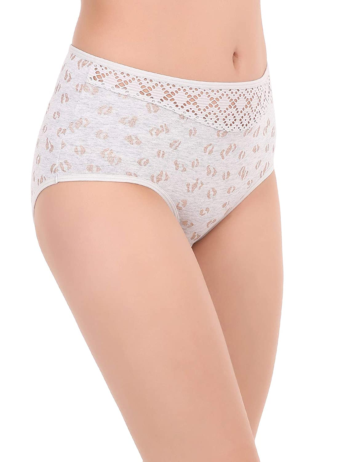19e758f5890 Clovia Women s Cotton High Waist Shimmer Print Hipster Panty with Lace at  Waist  Amazon.in  Clothing   Accessories
