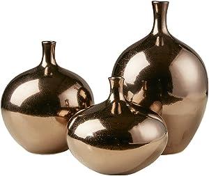 Madison Park Ansen Home Décor-Metallic 3 Piece Vase Set Modern Luxe Vessle Bottles Design Living Room Accent Decoration, Multi Size, Bronze