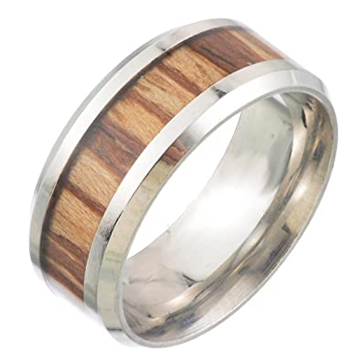 Damen Herren Ring Keramik Band Ring Holz Inlay Partnerring