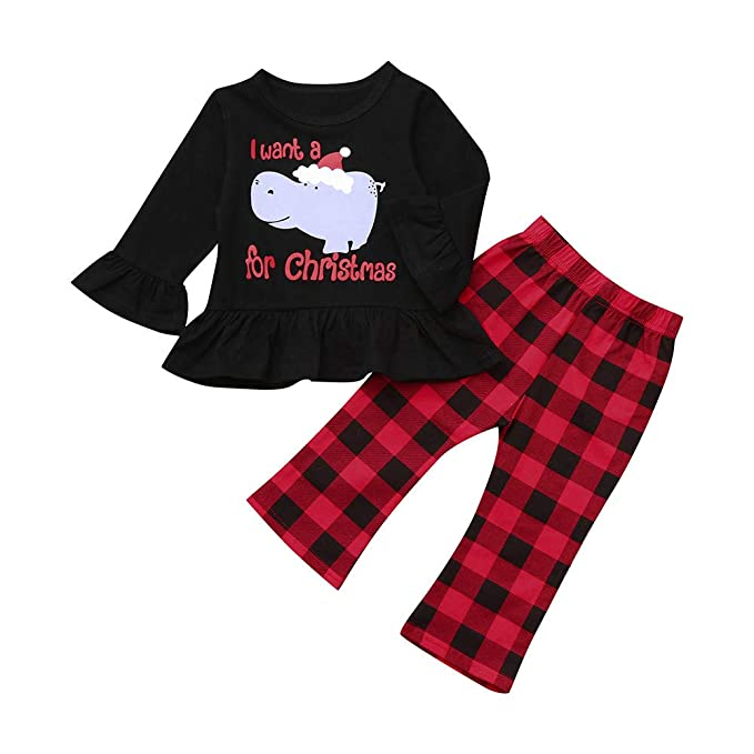 7dcec33d0 Amazon.com: Christmas Baby Girl Ruffle Clothes Long Sleeve T Shirt  Tops+Plaid Pants Winter Fashion Coming Home Outfit: Clothing