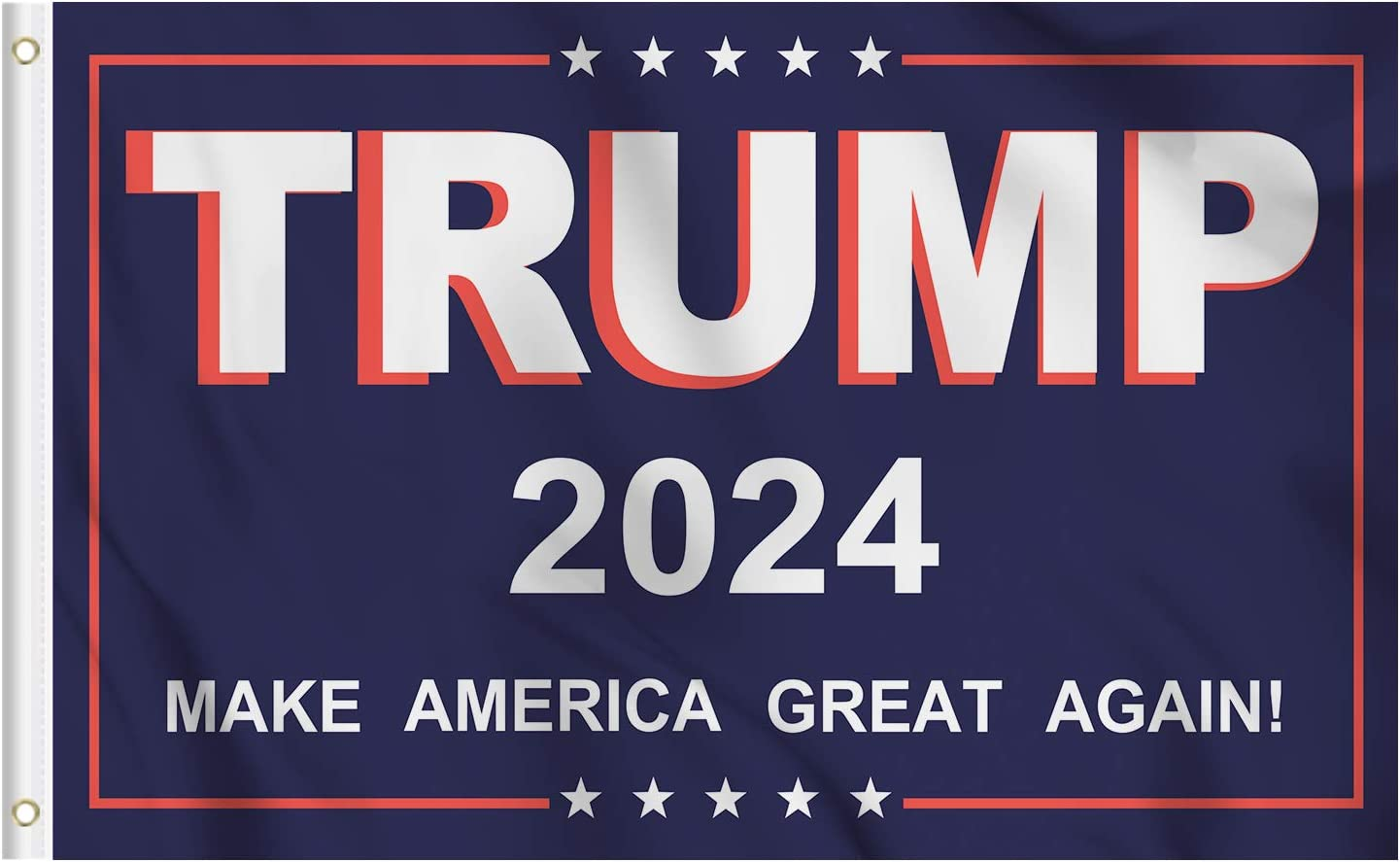 KENPMA Trump 2024 Make America Great MAGA Flag 3x5 ft House Dorm Room Wall Banner Garden Porch Yard Sign Lawn Patio Decorative Flags with Grommets - Printed 100D Polyester - Indoor/Outdoor