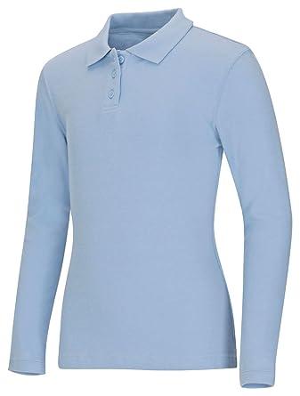 6adb20339 Classroom School Uniforms Women s Junior s Long Sleeve Fitted Interlock Polo  at Amazon Women s Clothing store
