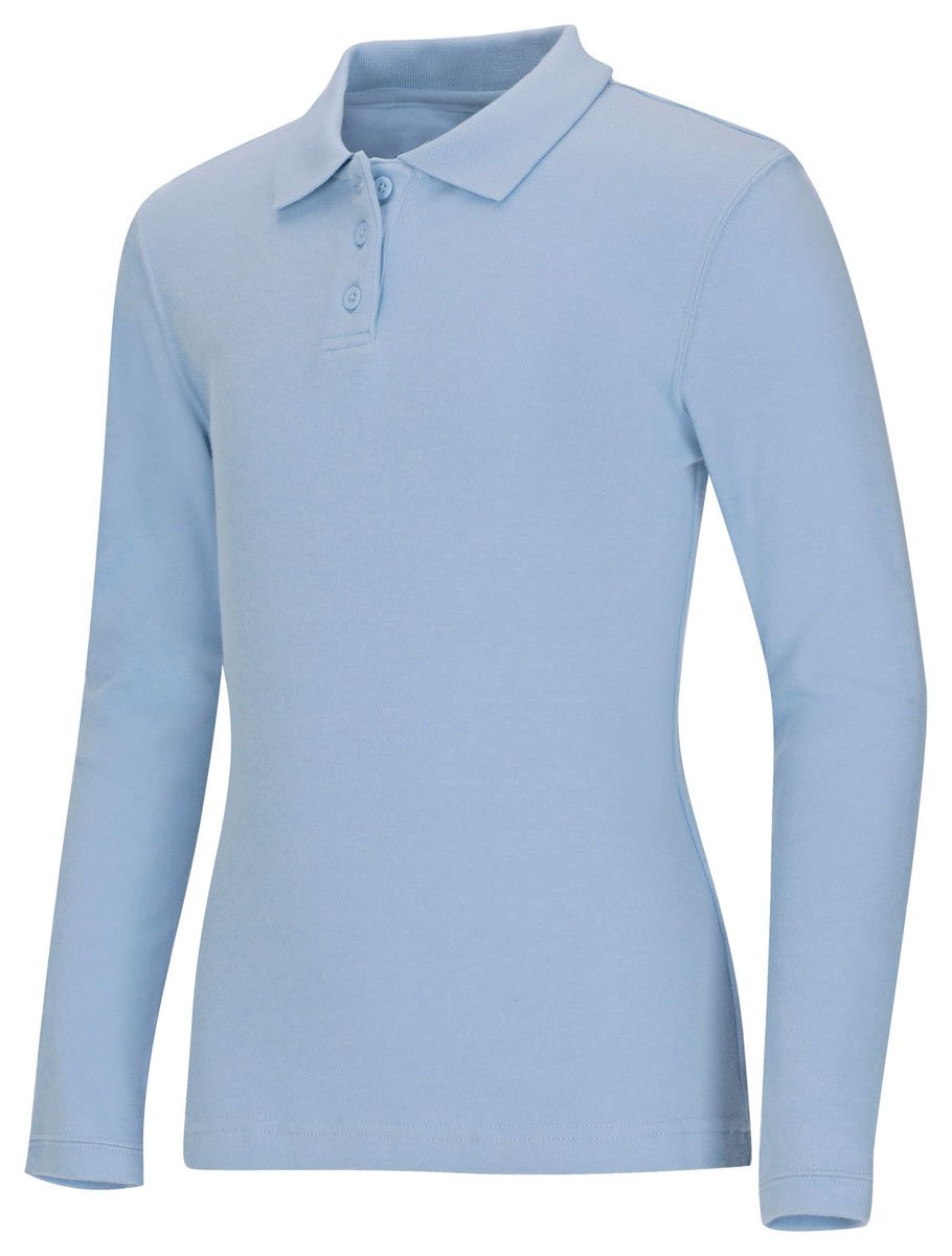 Classroom Big Girls' Long Sleeve Fitted Interlock Polo, Sos Light Blue, M