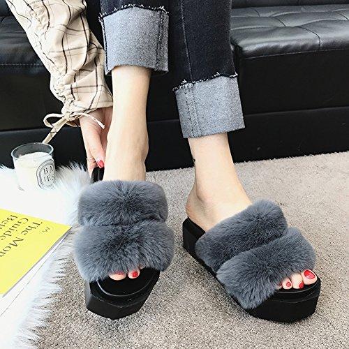 moda zapato Color colores CN35 5 Fondo Zapatos zapatillas Tamaño 225 de Hembra UK3 verano pastel Gris 4 grueso de Moda EU35 Wedgies pino LIXIONG de Caqui Fondo qT7fAw