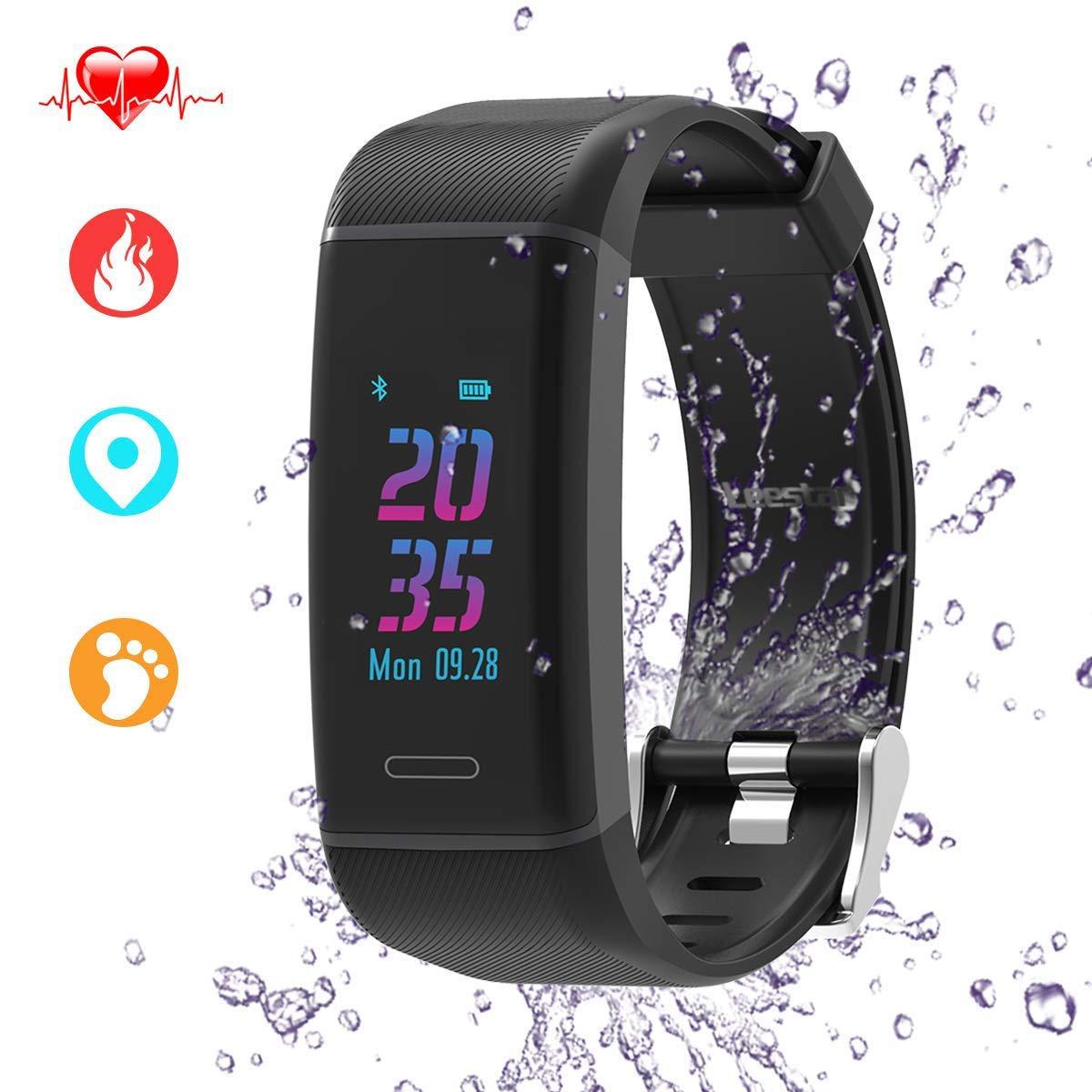 Pulsera Actividad, Leestar Reloj de Pulsera Fitness Inteligentes con Pulsómetros/ Podómetro con GPS Ruta Real/ Monitor de Dormir/ Monitor de Calorías/ ...