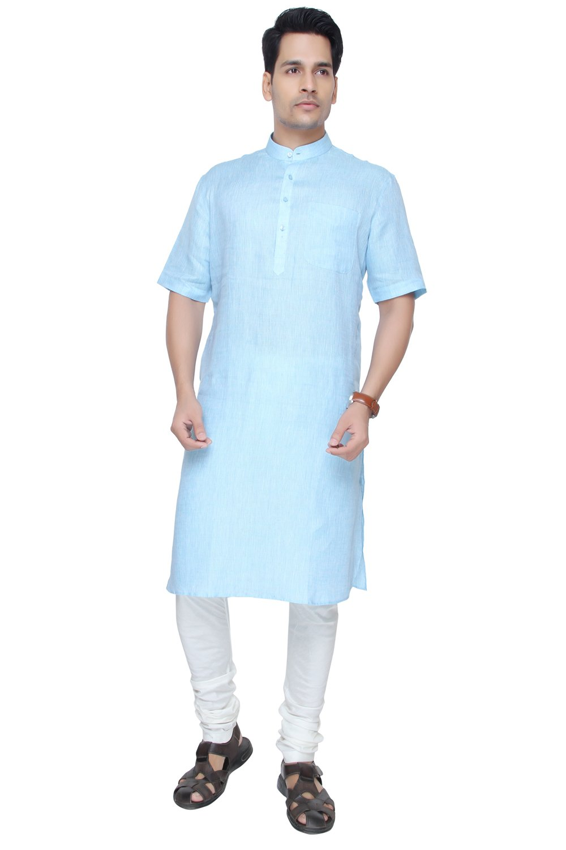 JadeBlue Sky Blue Modi Kurta Indian Wedding Kurta For Men - MK82RH -44