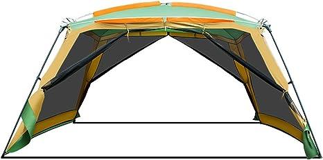 Pérgola al aire libre protección UV acampar 8-10 toldo plegable portátil tienda de playa a prueba de lluvia 12.5M2 área grande alto espacio diseño de ventilación integral (365cm * 365cm * 215cm):