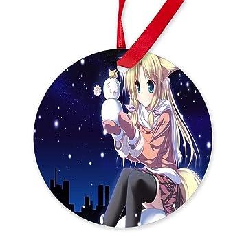 Amazon.de: CafePress - seidig Cherry Anime Weihnachten - Rund ...