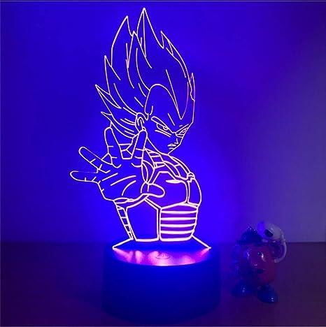 Ragazzi Bambini Bambini Regali Per Bambini Dragon Ball Super Saiyan God Goku 7 Lampada Da Tavolo A Cambiamento Di Colore Action Figure 3D Illusion Night Light