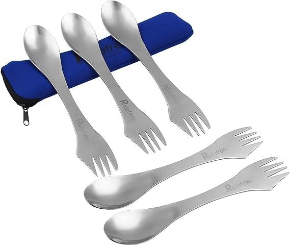 Relefree 3 en 1 Cuchara Tenedor Cuchillo Set de Cubiertos Portable de Acero Inoxidable Senderismo Camping Utensilios Vajilla