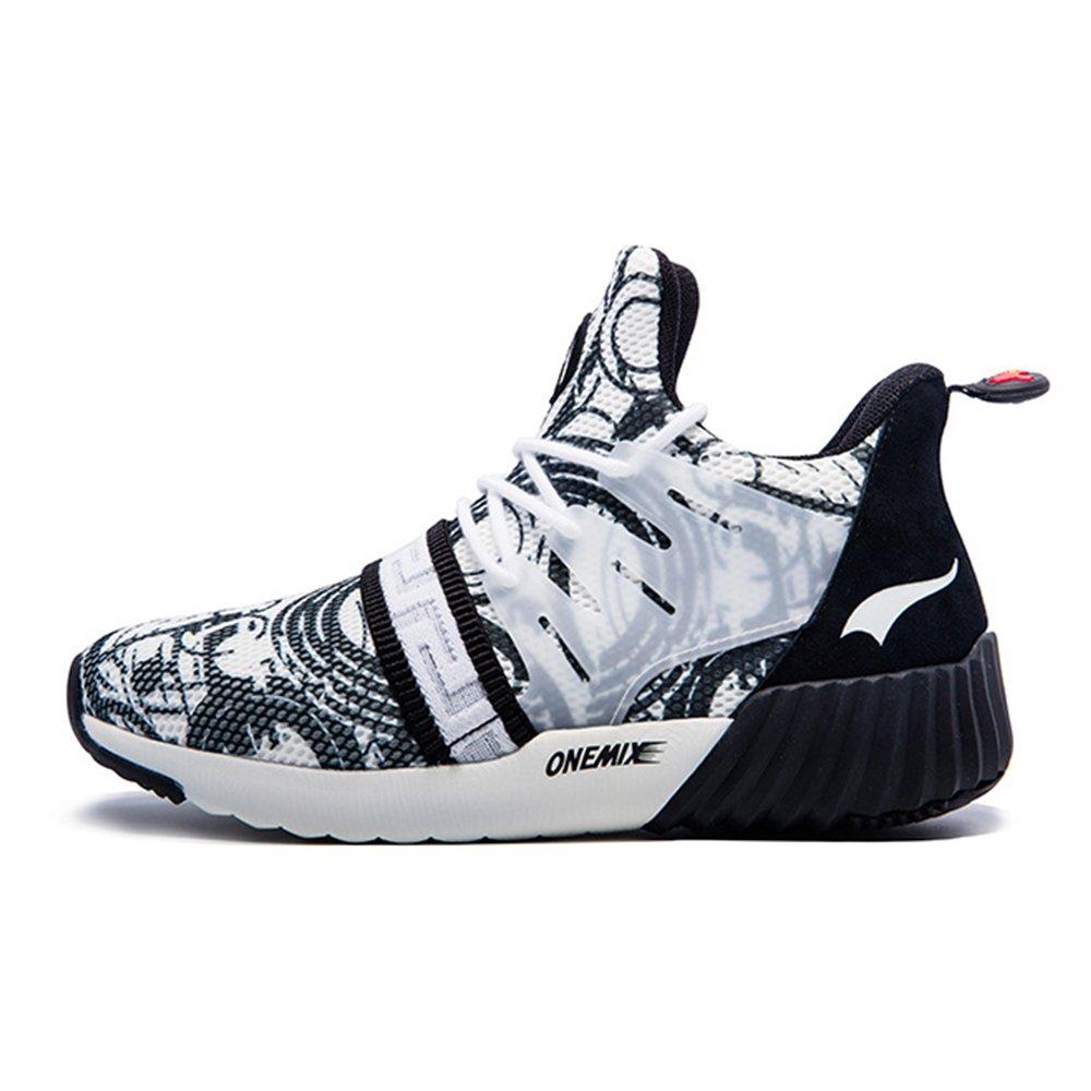 Onemix Men Air Cushion Black Sneakers Walking Sport Shoes B071NNZL3C 10 D(M) US 11.02inch|Blackwhite