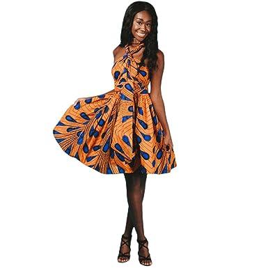 OBEEII Vestido Bohemio de Fiesta Mujer Sin Mangas Dashiki Africano ...