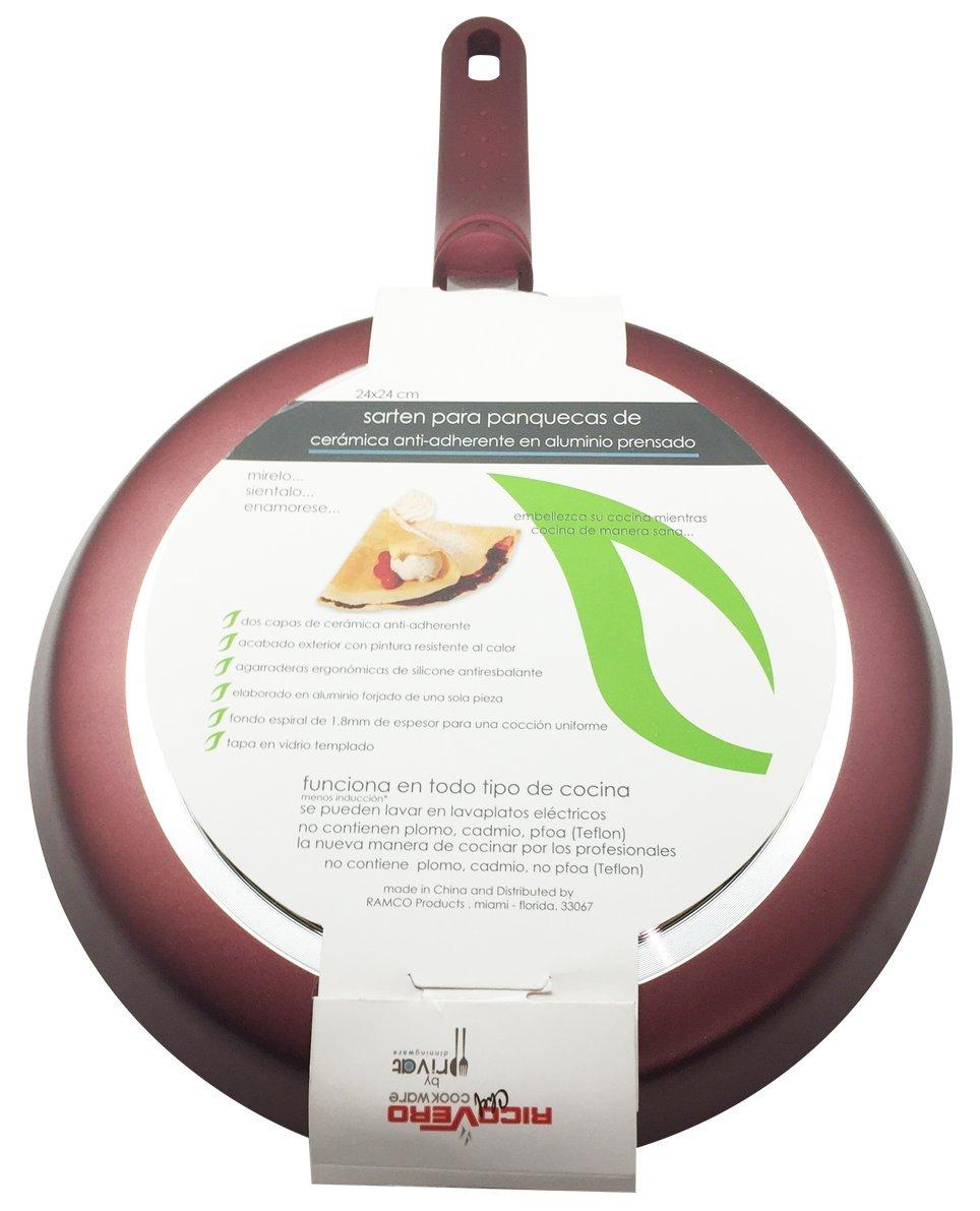 Amazon.com: Pancake/Omelette Pan by Ricovero Cookware- Double Nonstick Crepe Pan - Healthy Cooking - Ergonomic Handle - Uniform Heat Distribution - Non ...