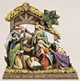 9.5'' Nativity Wood Carve Look Semi Flat by Roman