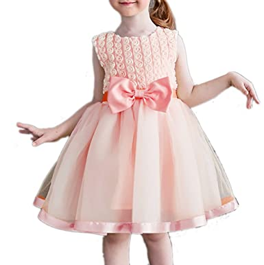 47e7f69f451c JIANLANPTT Little Flower Girls Wedding Dress Kids 3D Floral Frock Design  Party Princess Dresses Pink 6-7Years: Amazon.co.uk: Clothing