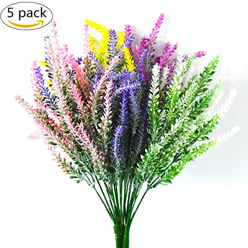 DearHouse 5 Bunches Artificial Flowers Flocked Lavender Bouquet Artificial Plant fake Lavender Flowers Arrangements for Bridal Home,Wedding,Party,Garden(Multicolor) (Birthday Spring Bouquet)