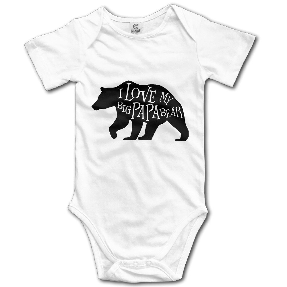 I Love My Big Papa Bear Bodysuit Baby Playsuit Union Suit Baby Short-Sleeve Bodysuit