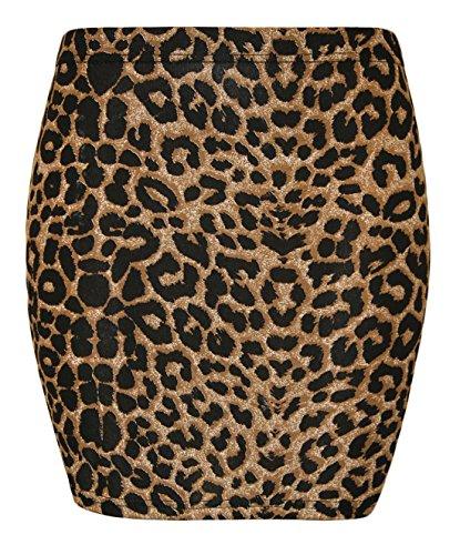 Rimi Hanger Ladies Stretchy Jersey Printed Mini Skirt Women Elasticated Waist Short Bodycon Brown Leopard Print Medium/Large -