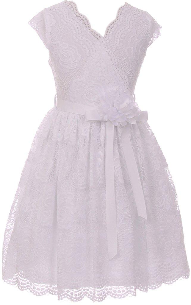 Flower Girl Dress Curly V-Neck White Embroidery AllOver for Little Girl White 8 JKS.2066 by BNY Corner (Image #1)
