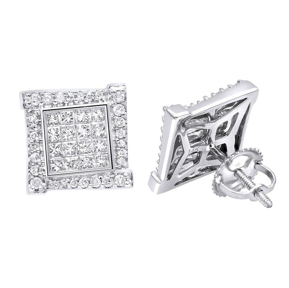 14k Gold Diamond Earring for Men Single Stud Princess Round Diamonds 0.5ctw (White Gold)