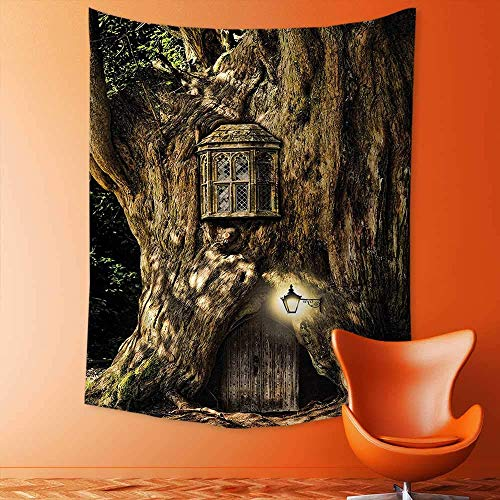 (adshdjfbdjh2 Hippy Mandala Bohemian Tapestries,House in Tree Trunk in Forest with Lanterns Folk Stories Themed Design Umber Psychedelic Tapestry Wall Decorative Tapestry 150x150 cm)