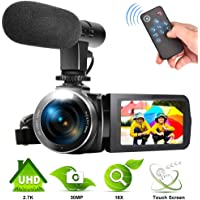 Camcorder 2.7K Video Camera for YouTube 30MP Digital Camera Vlogging Camera with Microphone and Remoter