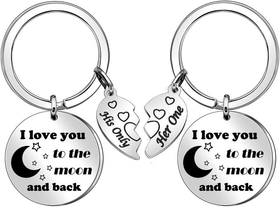 Porte-cl/és pour Couple avec Inscription /« I Love You to The Moon and Back /»