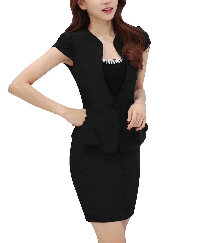 MFrannie Womens Vintage Flouncing Summer Office Suit Set of Blazer /& Skirt